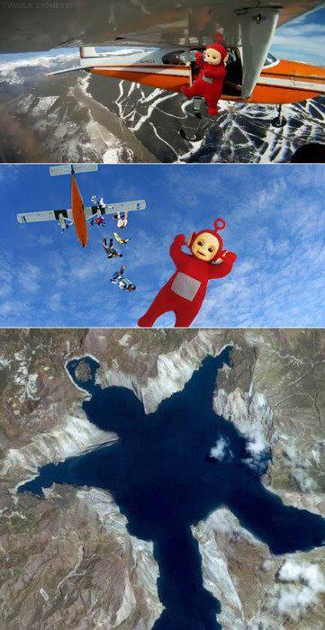 Non  teletubbies sauter avion