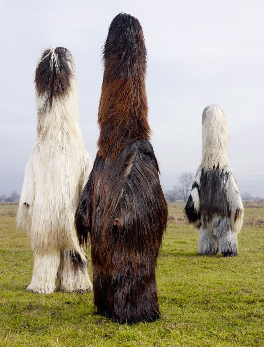 bulgarie men in babugeri costumes, used in pagan rituals.